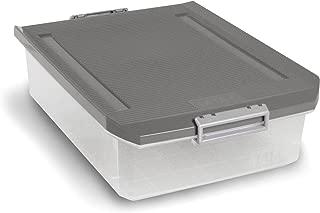 Tatay 1151122 Caja de Almacenamiento Multiusos Bajo Cama con Tapa y Ruedas Gris 63 l de Capacidad Pl/ástico Polipropileno Libre de BPA 45 x 78 x 18 cm