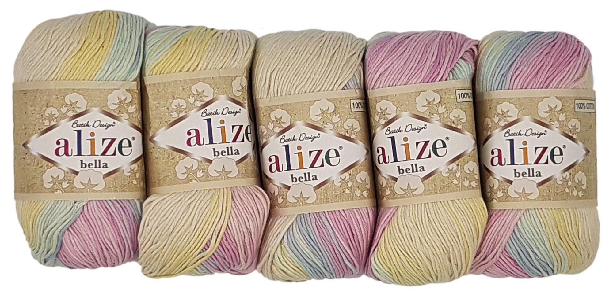 Alize Bella 5 x 50 Gramos algodón Degradado, 250 Gramos Lana Lana 100% algodón, Punto: Amazon.es: Juguetes y juegos