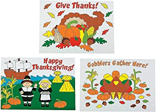 Fun Express - Cyo Thanksgiving Placemats (1dz) for Thanksgiving - Stationery - Activity Books - Coloring Books - Thanksgiving - 12 Pieces