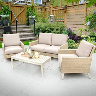 Lakeview Outdoor Designs Lafitte 4 Piece Wicker Patio Conversation Set W/Sunbrella Canvas Taupe Cushions