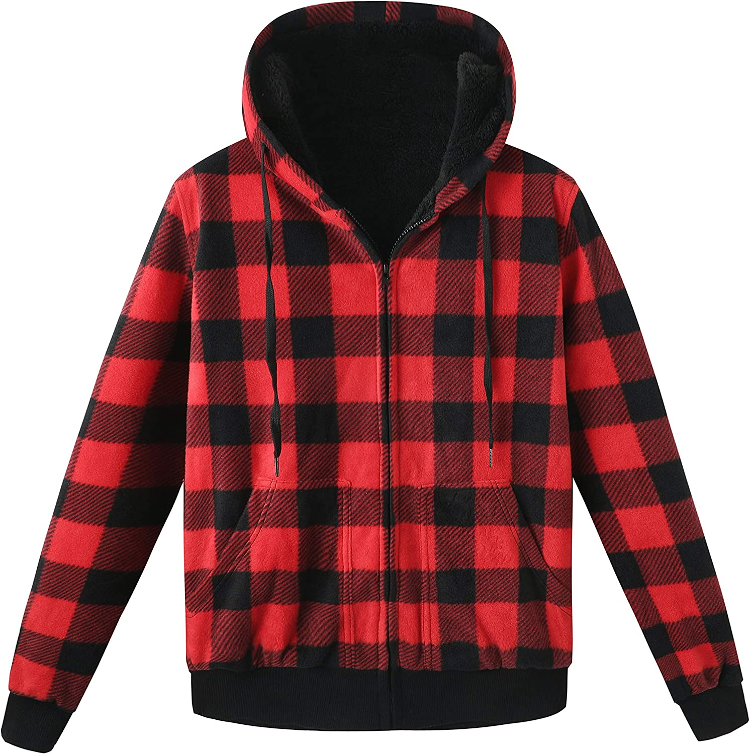 ZENTHACE Men's Thicken Sherpa free Lined Checkered Flannel Shi Soldering Hoodie