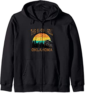 Sunset Oklahoma OK Retro Vintage Skyline City Monster Truck Zip Hoodie