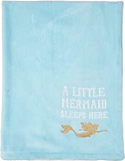 Disney Ariel Sea Princess Embroidered Fleece Velboa Blanket, Blue/White/Gold/Pink