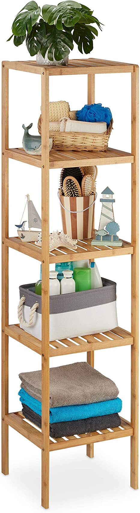 Relaxdays Badregal Bambus, Standregal Badezimmer & Küche ...