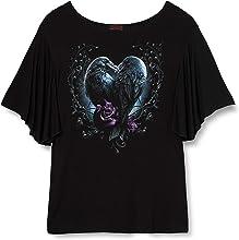 Spiral Direct Raven Heart-Boat Neck Bat Sleeve Top T-Shirt, Nero (Black 001), L Donna