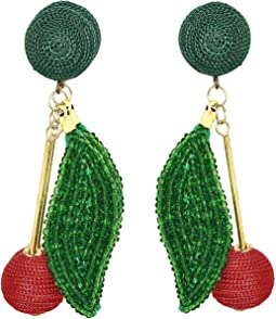 "3"" Gold Stick with Matte Red Ball End, Green Seed Bead Leaf and Matte Green Dome Top Pierced Earrings"