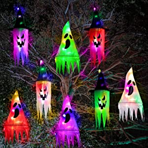 8 Pieces Halloween Ghost Hanging Decorations with Witch Hat Shapes Colored LED Waterproof Halloween Light Battery Operated Halloween Decorations Outdoor Indoor Yard Tree Garden Party Decor