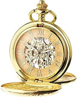 TREEWETO اعداد مکانیکی رومی مردانه ساعت جیبی اسکلت شماره گیری با جعبه کادو و زنجیر برای زنان مردانه نقره طلای برنز سیاه