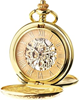 Men's Mechanical Roman Numerals Dial Skeleton Pocket Watches with Gift Box and Chains for Mens Women