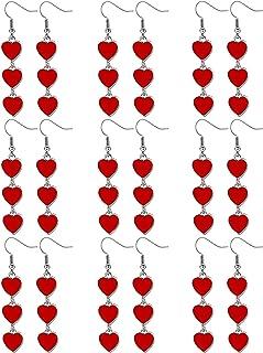 9 Pairs Red Heart Drop Earrings Interlocking Heart Dangle Earrings for Women Valentine's Day
