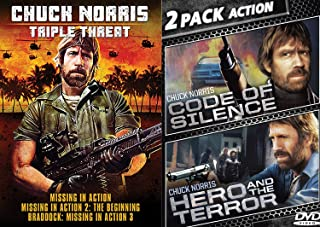 Bearded CHUCK NORRIS Missing in Action 1/2/3 The Triple Threat Beginning Bundle + Code of Silence & Hero Terror Double Feature (5-DVD Movie Set)
