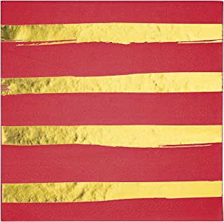 Creative Converting Red & Gold Foil Stamp Luncheon Napkins Party Supplies, Multicolor