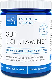 Essential Stacks Gut L-Glutamine Powder – Gluten, Dairy & Soy Free, Vegan, Non-GMO & Hypoallergenic with 3rd Party Verifie...
