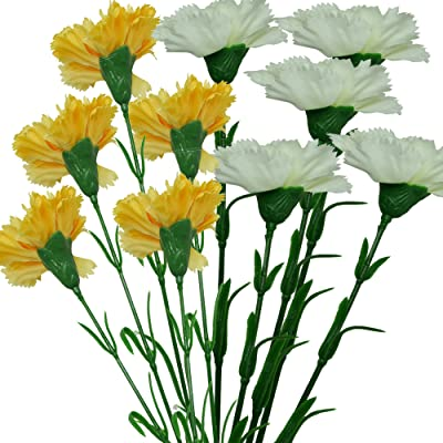 Fourwalls Artificial Synthetic Single Carnation Flower Stick (45 cm Tall, Set of 10, Yellow-5, White-5)