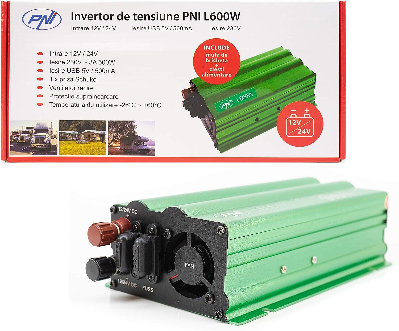 Inversor de Voltaje Fuente de alimentación Dual PNI L600W 12V / 24V, Salida 230V, 500W, Seno Modificado, Enchufe USB de 5V 500mAh, con alicates y Enchufe para Encendedor de Cigarrillos incluidos