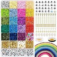 5000 polymeerklei platte ronde kralen, 6 mm platte polymeerklei schijfkralen en 218-delige witte letters AZ met...