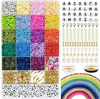 5000 polymeerklei platte ronde kralen, 6 mm platte polymeerklei schijfkralen en 218-delige witte letters AZ met 120-delige...