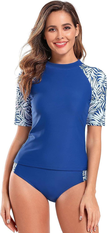 SHEKINI Oklahoma Save money City Mall Women's Short Sleeve Rash Guard Print Pr Sun UV Swimsuit