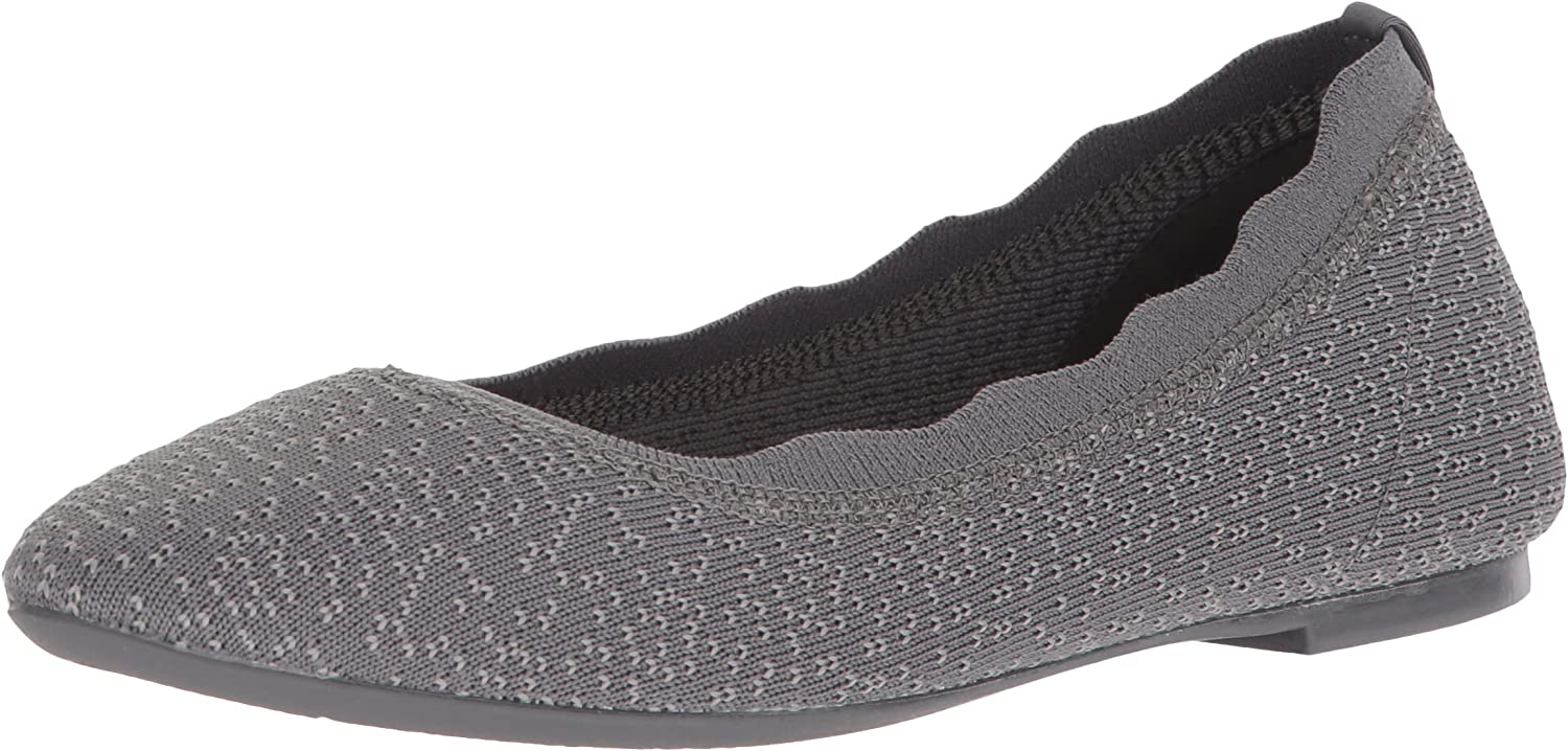 Skechers Womens Cleo - Dots - Scalloped Collar Engineered Knit Skimmer Ballet Flat