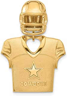 Kira Riley Gold Plated Dallas Cowboys Jersey & Helmet Pendant for Chains and Necklaces