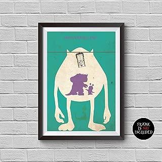 Monsters Inc Minimalist Poster Monsters Inc Animation Alternative Movie Print Disney and Pixar Collection Sulley Sullivan Mike Wazowski Boo Randall Home Decor Cinema Artwork Wall Art Hanging Cool Gift