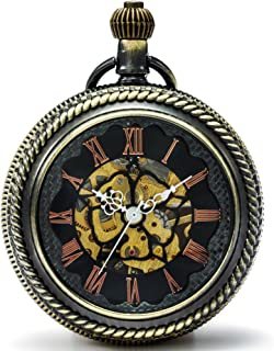 SEWOR Nuevo diseño, tamaño Grande Flor dial Lupa Cristal mecánica Mano Viento Reloj de Bolsillo