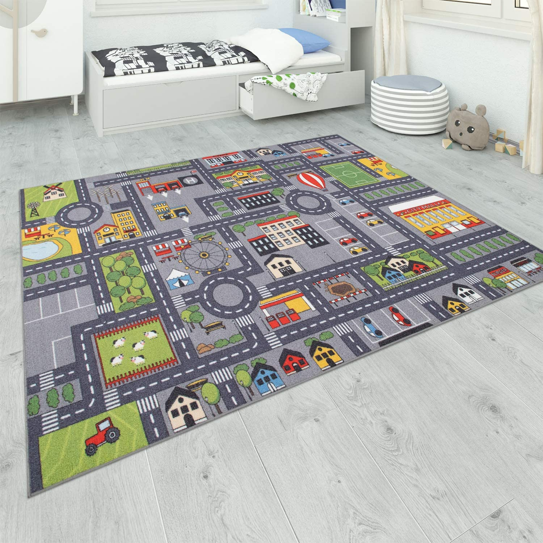 Paco Home Tapis De Jeu Chambre Enfant Gris Routes Filles Gar/çons Dimension:100x200 cm Couleur:Gris