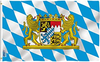 Anley Fly Breeze 3x5 Foot Bavaria with Lions Flag - Vivid Color and UV Fade Resistant - Canvas Header and Double Stitched - Bavarian Lion Crest Flags Polyester with Brass Grommets 3 X 5 Ft