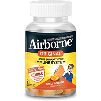 Airborne Orange Flavored Gummies, 21 count - 1000mg of Vitamin C and Minerals & Herbs Immune Support