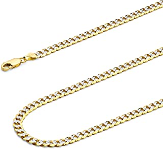 14k Two Tone Yellow and White Gold SOLID 3.2mm Polished Cuban Concaved Curb White Pave Diamond Cut Chain Necklace with Lobster Claw Clasp