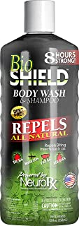 BIO SHIELD By Portland Outdoors Body Wash and Shampoo All Natural DEET-FREE 8-Hour Tick, Flea, Bed Bugs and Mosquito Repellent, 12oz