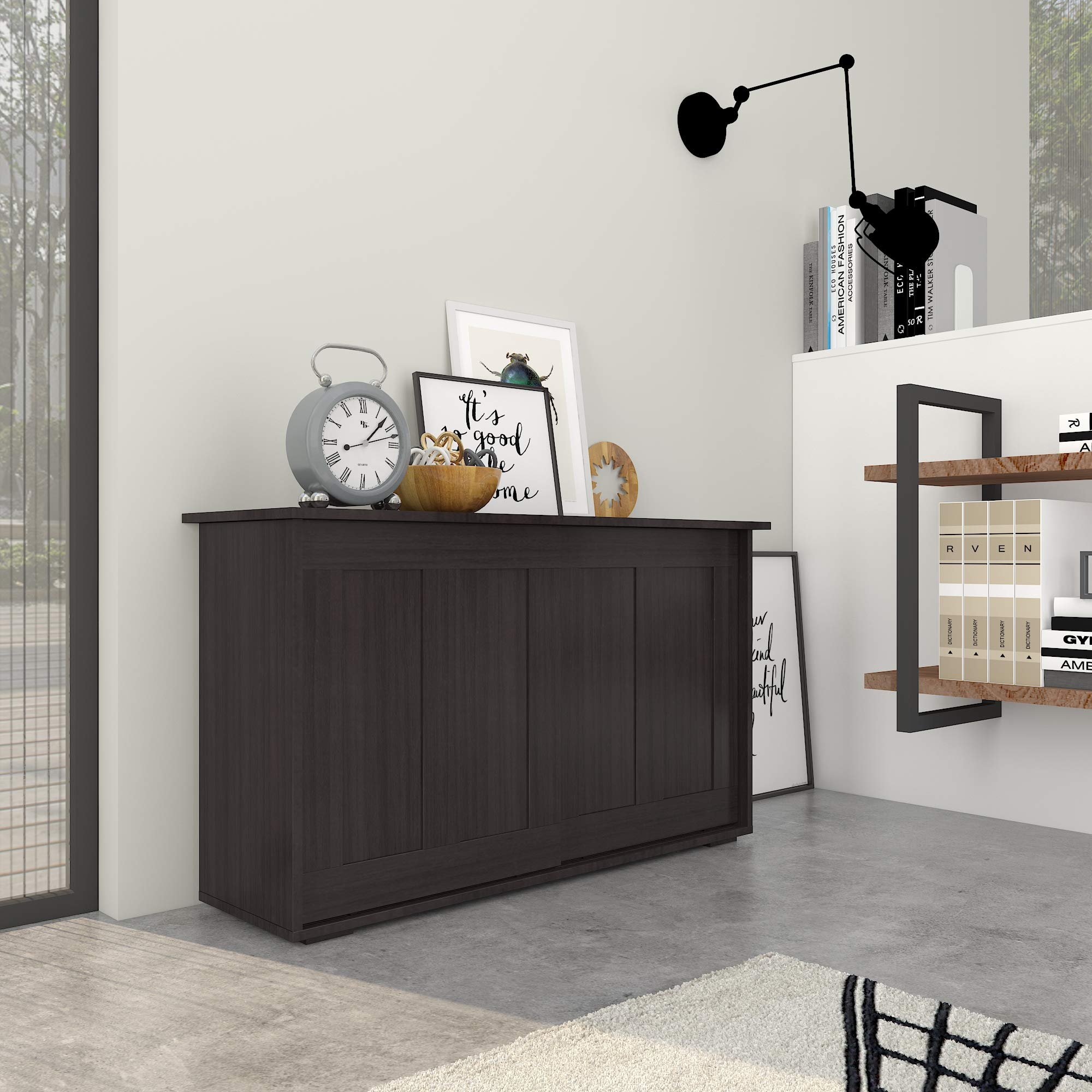 Amazon Com Cozycasa Sideboard Buffet Cabinet Storage Tv Console Table With Sliding Doors Adjustable Shelf Kitchen Pantry Cabinets Brown Credenza Sideboard Buffet Cupboard Buffets Sideboards