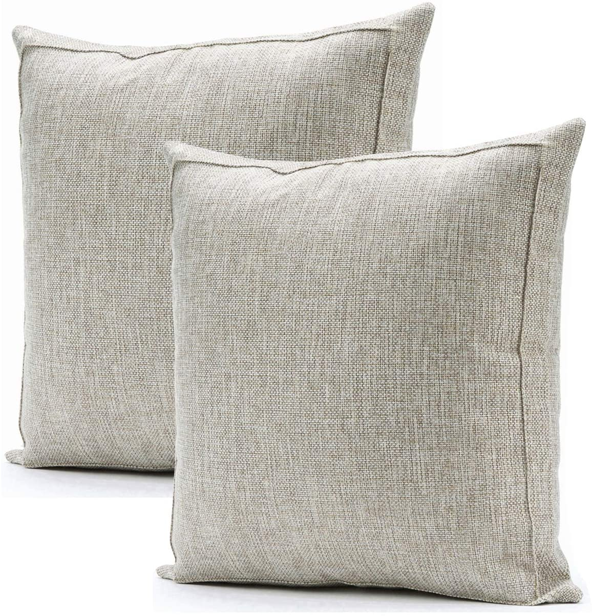 Jepeak Burlap Linen Throw Pillow Covers Cushion Cases, Pack of 2