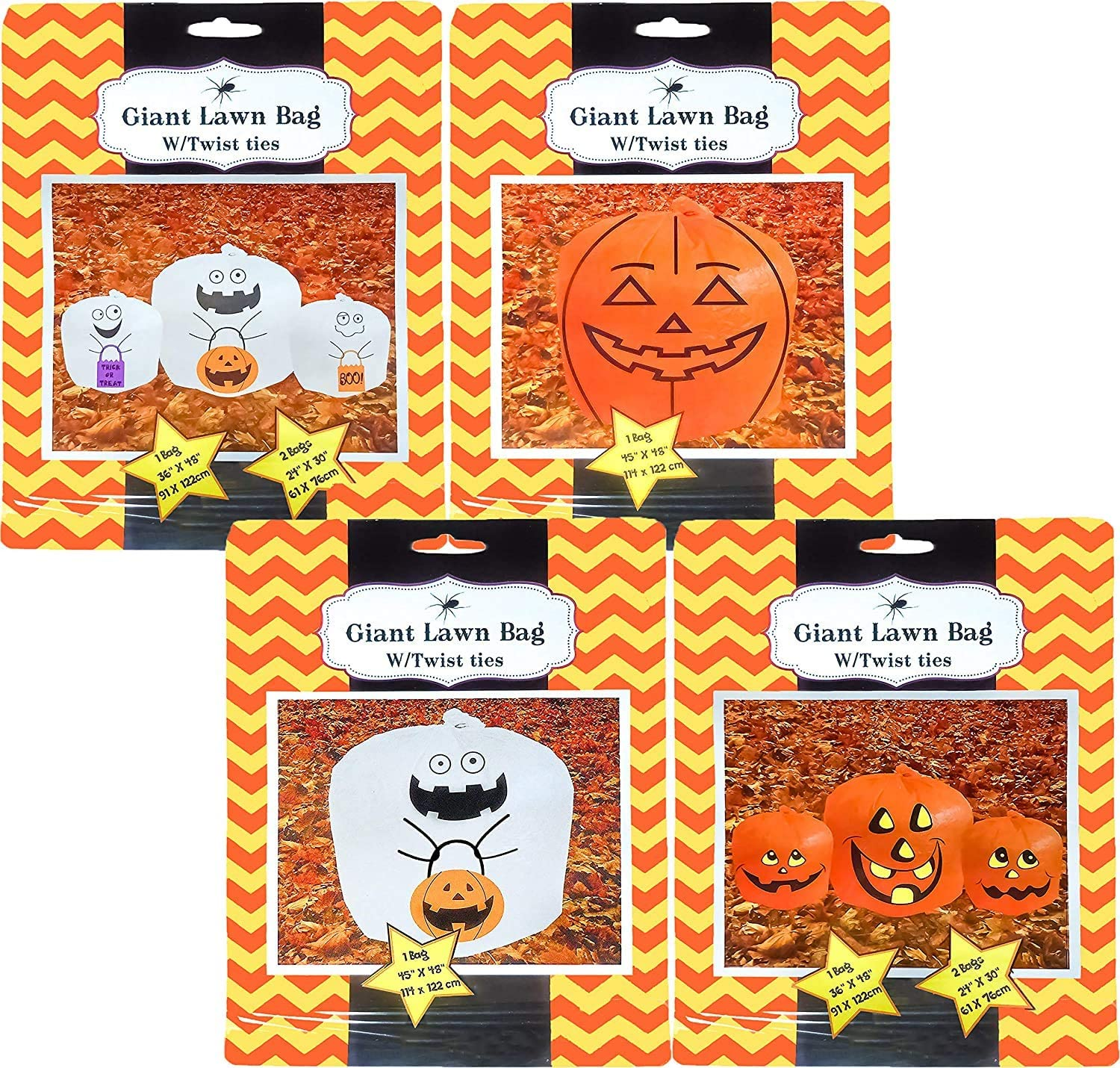 Giant Halloween Many popular brands Pumpkin Lawn Bag Surprise price with Different in Ties Twist Si