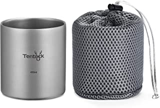 Tentock Double Walled Titanium Mug Backpacking Portable Camping Cup 350ml/450ml Lightweight Heat Resistant Coffee Mug Tea ...