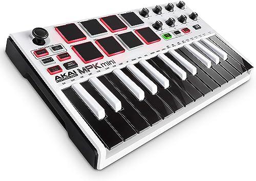 AKAI Professional MPK Mini MKII LE White - Clavier Maître MIDI/USB 25 Touches Sensibles à la Vélocité, 8 Pads, 8 Pote...