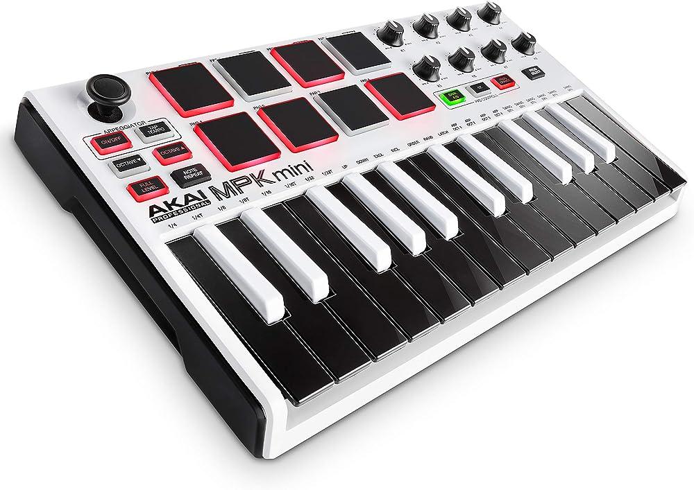 Akai professional tastiera midi controller usb con 25 tasti, 8 pad, potenziometri e joystick MPKMINI2WHITE