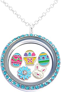 Easter Floating Locket Set Including Necklace and 5 Locket Charms