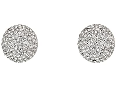 Nina Pave Button Clip Earrings (Rhodium/White) Earring