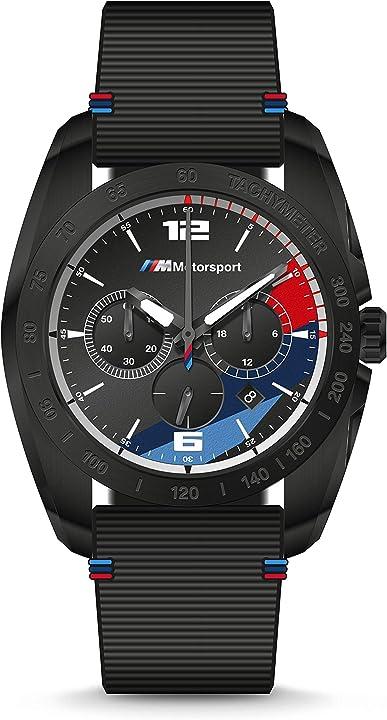 Orologio da uomo in silicone nero con cronografo, 22 - bmw2001 bmw m motorsport