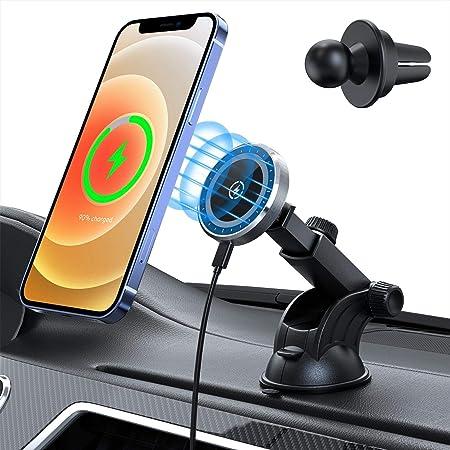 【2021最新発売】Aouevyo 車載ホルダー マグネット 15W ワイヤレス充電器 iPhone12 / 12 Pro / 12 Pro Max / 12 miniに対応 Magsafeに対応 スマホホルダー 車 超強磁力 粘着ゲル吸盤&エアコン吹き出し口式兼用 ブラック