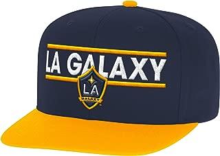 adidas MLS Los Angeles Galaxy Men's Dassler Flat Brim Snapback Hat, One Size, Black