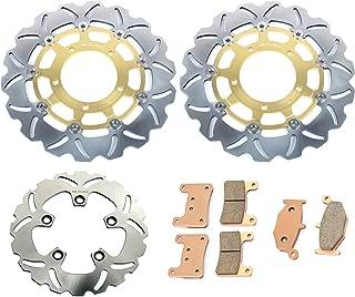 TARAZON Gold Set Front Rear Brake Rotors Discs and Pads for Suzuki GSXR1000 2007 2008 GSXR600 GSXR750 06 07