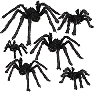 Dreampark Halloween Spider Decorations, 6 Pcs Realistic Hairy Spiders Set, Scary Spider Props for Indoor, Outdoor and Yard...