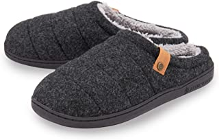 Dunlop Mens Slippers Slip On Comfy Mule Faux Fur Lined Felt Memory Foam Size 7-12