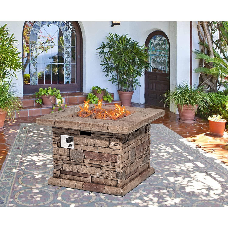 Sponsored Ad - SUNBURY Outdoor 35 Inch Propane Fire Pit Table, Square Patio Fire Table 50,000 BTU Concrete Fire Table w Br...