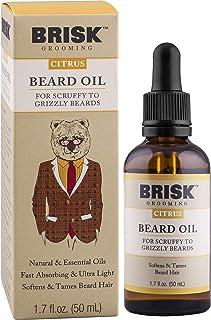 Brisk Beard Grooming Oil Liquid, Citrus for Beard Hair, 1.7 Oz
