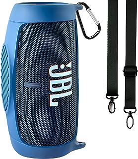 Silikonhülle für JBL Charge 5 tragbaren Bluetooth-Lautsprecher, Reisegel weiche Haut, wasserdichte Tragetasche aus Gummi mit Riemen(Blau)