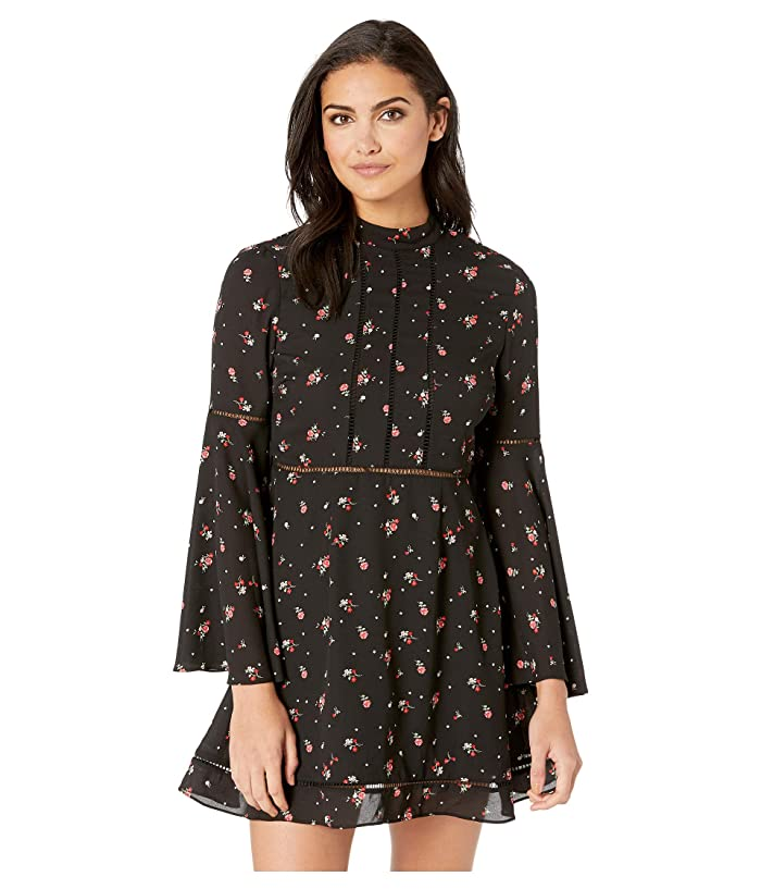 Jack by BB Dakota Flower Of Love Petite Rose Printed Crepe de Chine Dress (Black) Women