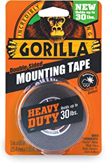 Gorilla Heavy Duty Double Sided Mounting Tape, Hanging, Instant 13.6kg Strong Hold, Permanent Bond, Weatherproof, 25.4mm x...